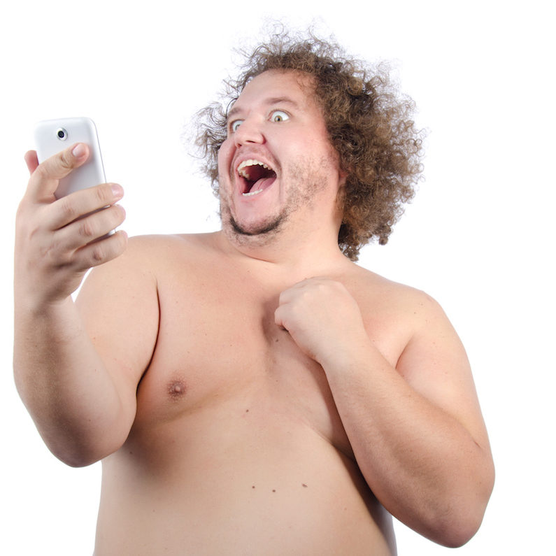 Fat guy and selfie.
