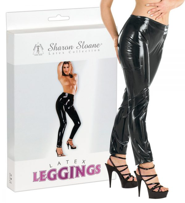 pantaloni in latex nero per donna 1