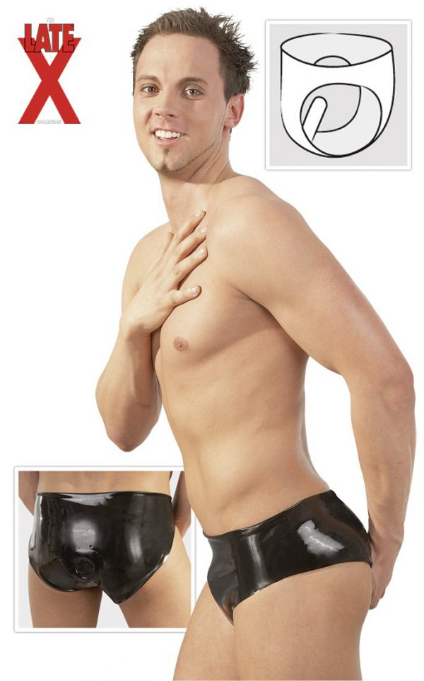 slip uomo in latex nero con fallo interno